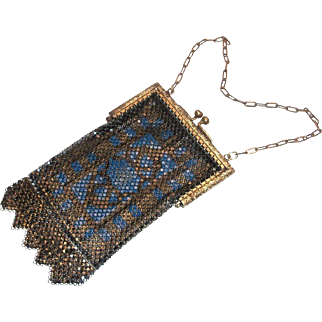 Vintage Mandalian Blue Design Mesh Purse