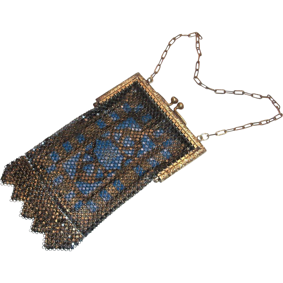 Vintage Mandalian Blue Design Mesh Purse