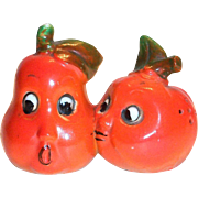Anthropomorphic Novelty Tomato & Pear Love Match Porcelain Salt & Pepper Shakers