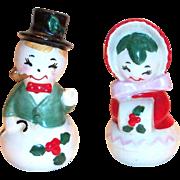 Lefton Hand Painted Porcelain Mr. & Mrs. Snowman Salt & Pepper Shakers Set