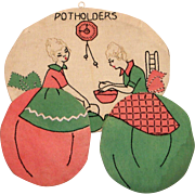 Vintage Handmade Embroidered Ladies Cooking Potholder Or Hot Pad Holder/Hanger