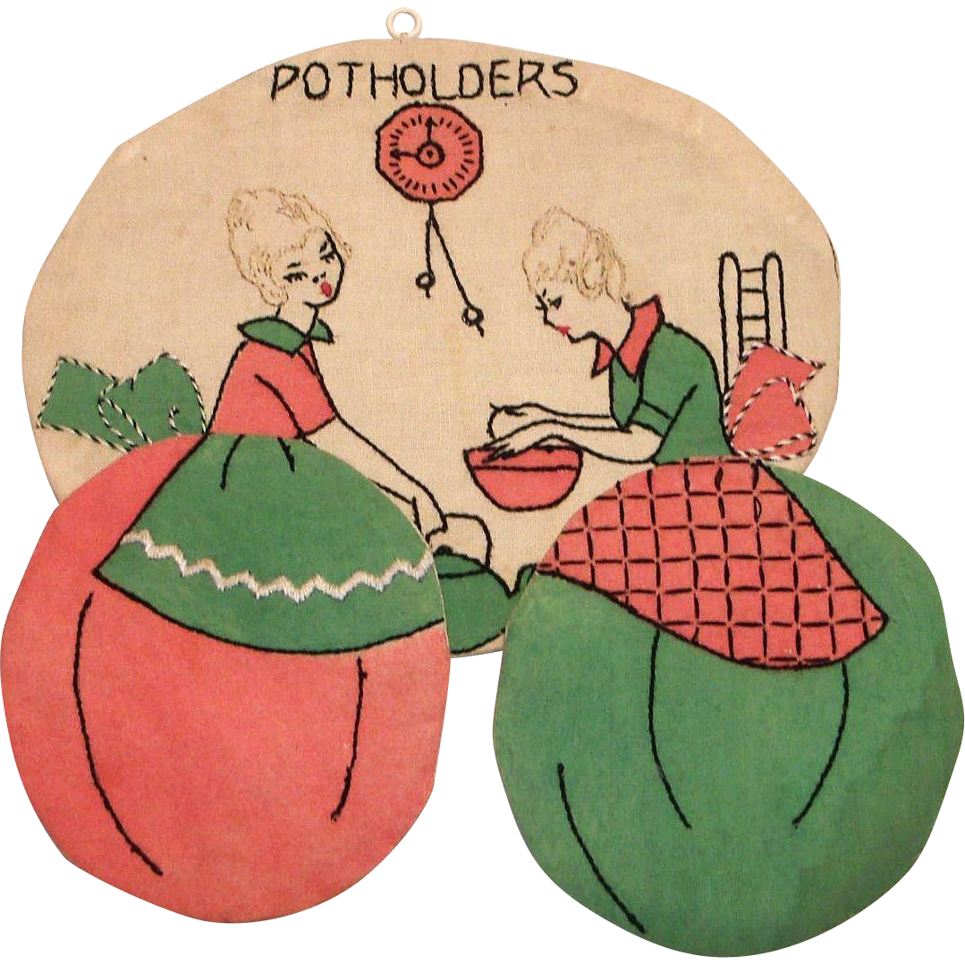 Vintage Handmade Embroidered Ladies Cooking Potholder Or Hot Pad Holder/Hanger