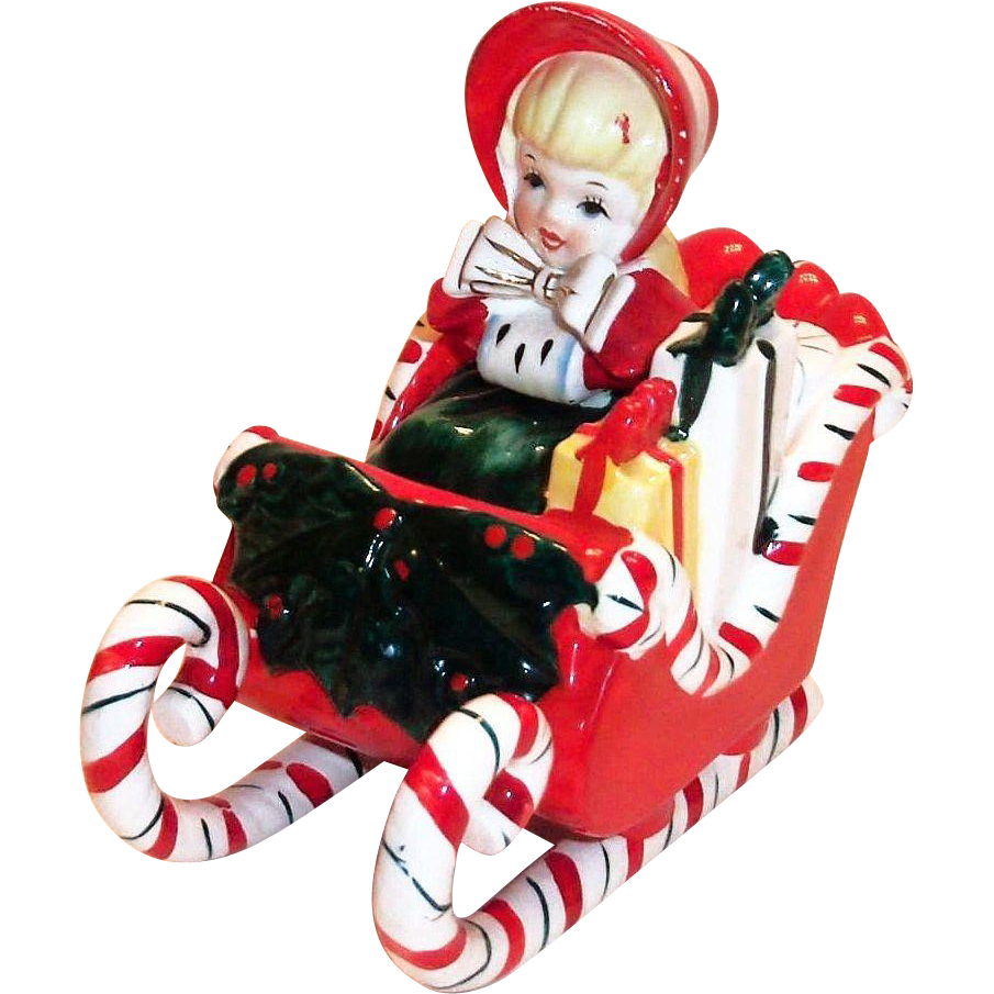 Lefton Christmas Little Girl In Candy Cane & Holly Sleigh Porcelain Figurine-1957