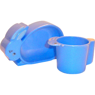 Vintage Hard Plastic Child's 2 Pc Blue Rabbit Shaped Dish & Matching Cup Set