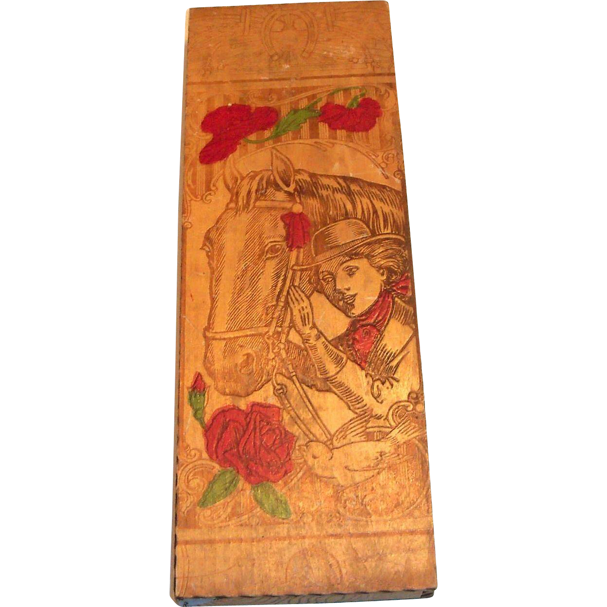 Vintage Pyrography Lady With Horse Design Wooden Glove Box