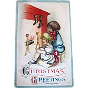 B & S: Christmas Greetings: Victorian Style Children In Front Of Fireplace Postcard - 1913