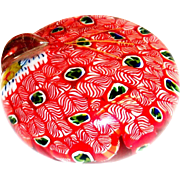 Peacock Design Millefiori Style Glass Paper Weight
