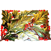 Vintage Green Holly & Red Berry Postcard