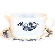 Pyrex Dark Blue Floral Design Gravy Boat/Bowl & Server Plate
