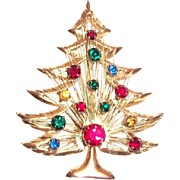 Brooks Rhinestone Christmas Tree Pin - Signed