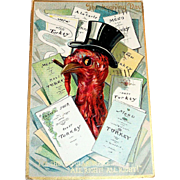 Raphael Tuck: I'm The Popular Birdie. All Right! All Right! Thanksgiving Postcard - 1909