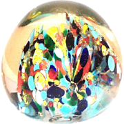 Multicolored Confetti Design Glass Paperweight