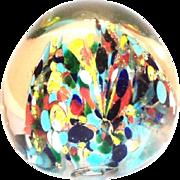 Multicolored Confetti Design Glass Paperweight