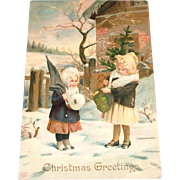 Christmas Greetings (2 Little Girls Standing in Snow With Tree) Postcard