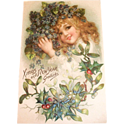 Vintage Xmas And New Year Greetings Postcard