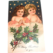 A Merry Christmas To You (2 Cherubs & Stars) Postcard