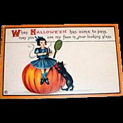 "Vintage ""When Hallowe'en Has Come To Pass"" Postcard"