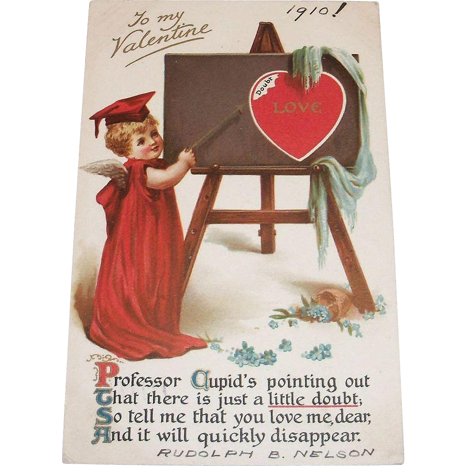 vintage to my valentine postcard 1910 the antique chasers ruby