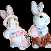 Fitz & Floyd 1990 Hand Painted Easter Mr. & Mrs. Bunny Salt & Pepper Shakers