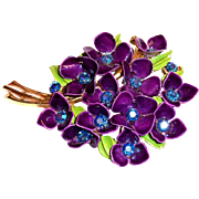 Bouquet Of Purple Enamel Violets & Leaves Pin