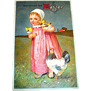 Best Wishes For Easter Postcard (Toddler Girl In Pink Design)