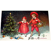 A Merry Christmas Postcard (Boy & Girl In Red Admiring Tree)