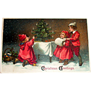 Christmas Greetings Postcard (3 Children in Red Admiring Christmas Tree)