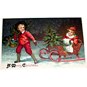 A Merry Christmas Postcard (Young Victorian Style Boy Pulling Little Girl & Tree In Sled) - 1911