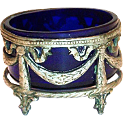 Cobalt Blue Glass Salt Cellar In A Silver Plate Filigree Stand