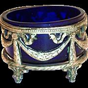 Cobalt Blue Glass Salt Cellar In A Silver Plate Filigree Stand