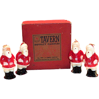 (4) Tavern Santa Claus Novelty Candles In Original Tavern Box