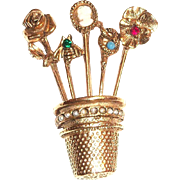Lovely Gold Tone Thimble With Stickpins Pin