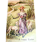 "SB: ""A Happy Easter"" Postcard (Victorian Style Lady & Lambs Scene)"