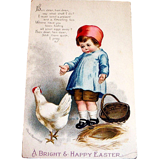 A Bright & Happy Easter Postcard Signed Ellen H. Clapsaddle