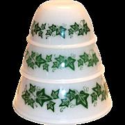 Hazel Atlas 3 Pc Green Ivy Design Glass Stackable Bowls