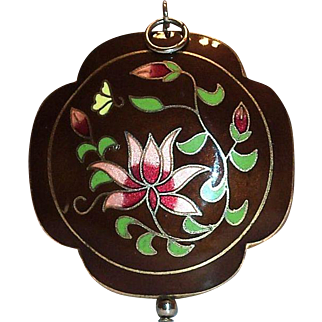 Lovely Double Sided Floral Design Cloisonne Pendant