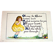 Vintage Easter Bunny Leave A Glad Surprise Postcard (Little Girl in Yellow with Rabbit)