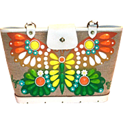 1960's Enid Collins Flutterbye Beaded Front Design Purse