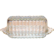 Vintage Clear Pressed Glass Covered Butter Dish