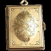 Gold Tone & Etched Filigree Design Top Book Shaped Locket