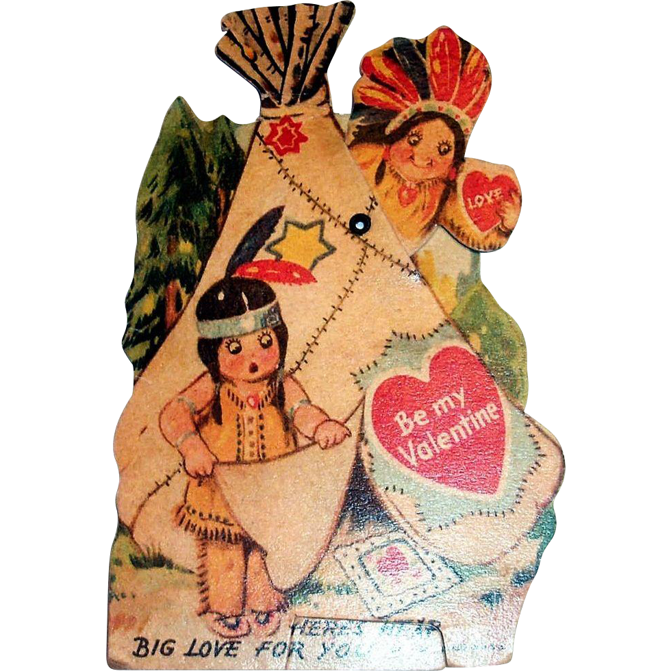 """Mechanical """"Here's Heap Big Love For You, Be My Valentine"""" 1937"""