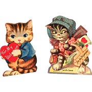 Two 1930's Kitty Cat Valentines