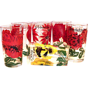 Federal Glass: Individual Floral Design Drinking Glass