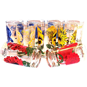 Vintage Floral Design Juice Glass