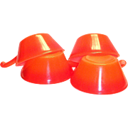 Fire King Retro Reddish Orange Glass Single Handle Soup Bowl - 1970's