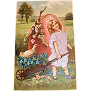 MAB: Easter Greetings Postcard (Little Girl in Lavender Satin Dress)