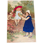 Two Victorian Style Children & Their Easter Basket Postcard