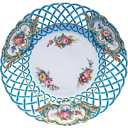 Minton Blue With Hand Painted Rose Design Reticulated Plate