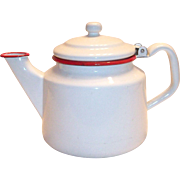 White With Red Trim Enamel Ware Teapot