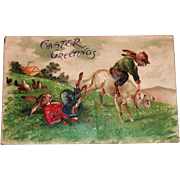 Easter Greetings Postcard (Rabbit Riding On The Back Of A Sheep.)